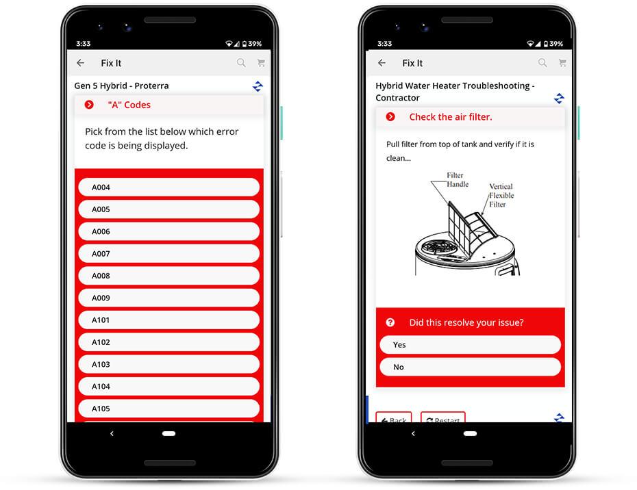Rheem iPhone App - Code and Check Air Filter Screen