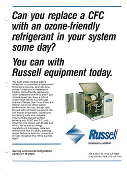 """""""Can you replace a CFC with an ozone-friendly refrigerant…"""" Ad 1993"""