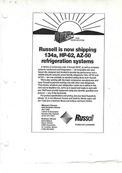 R134a, HP-62, AZ-50 Refrigeration Sytems Regional Ad 1995