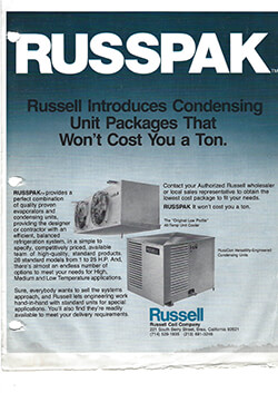 Russpack Condensing Unit Packages Ad circa 1980s