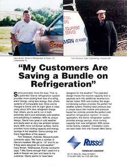 """""""My Customers are Saving A Bundle"""" Sierra Refrigeration Systems Ad 1998"""