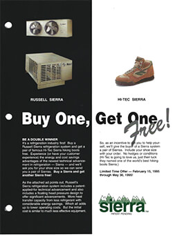 Sierra Refrigeration Sytems Buy One Get One 2-page Ad 1995