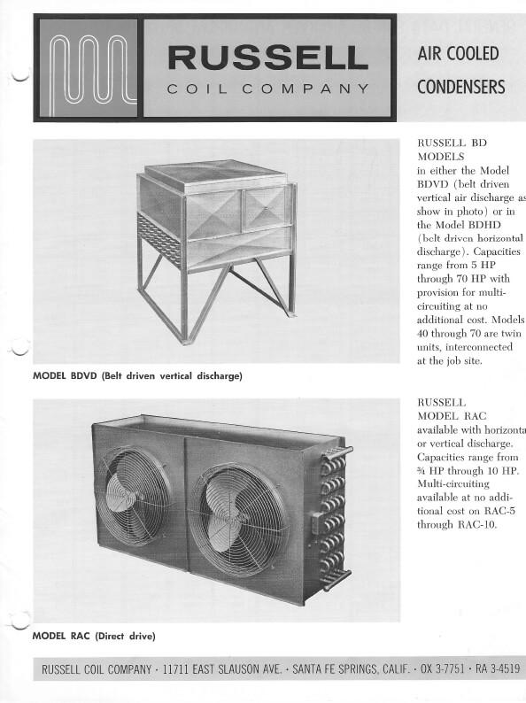 Air Cooled Condensers BD Models RAC Models 1968 Thumbnail