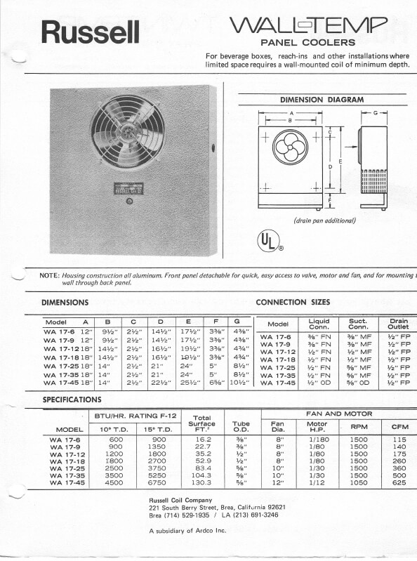 Wall-Temp Panel Coolers 1978