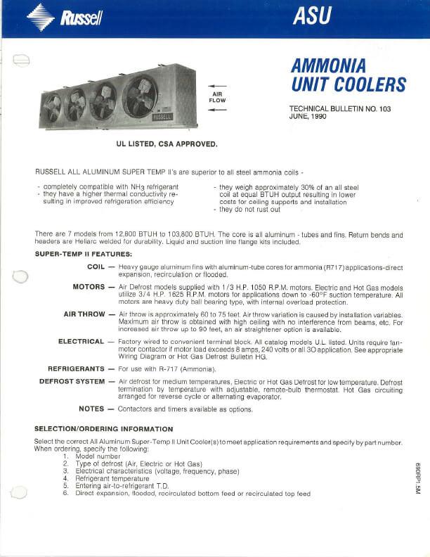Ammonia Unit Coolers 1990