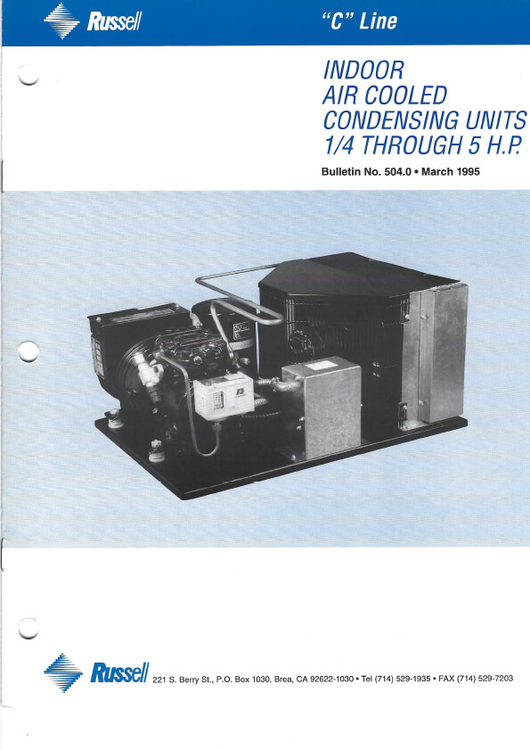 C Line Indoor Air Cooled Condensing Units 1995