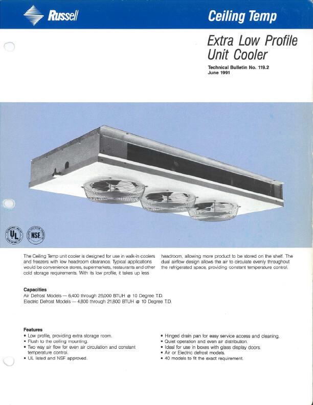 Ceiling Temp Unit Coolers 1991