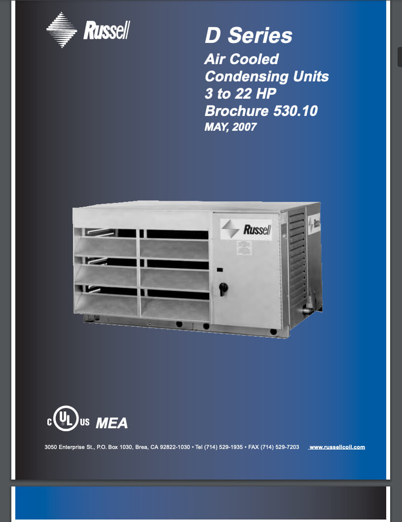 D-Series Condensing Units 3 to 22HP 2007