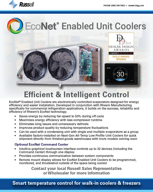 EcoNet Enabled Unit Coolers with EcoNet Command Center 2019 DDA Award