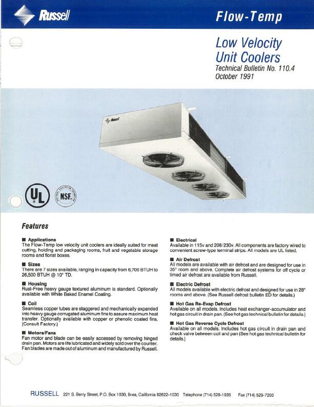 Flow-Temp Low Velocity Unit Coolers 1991