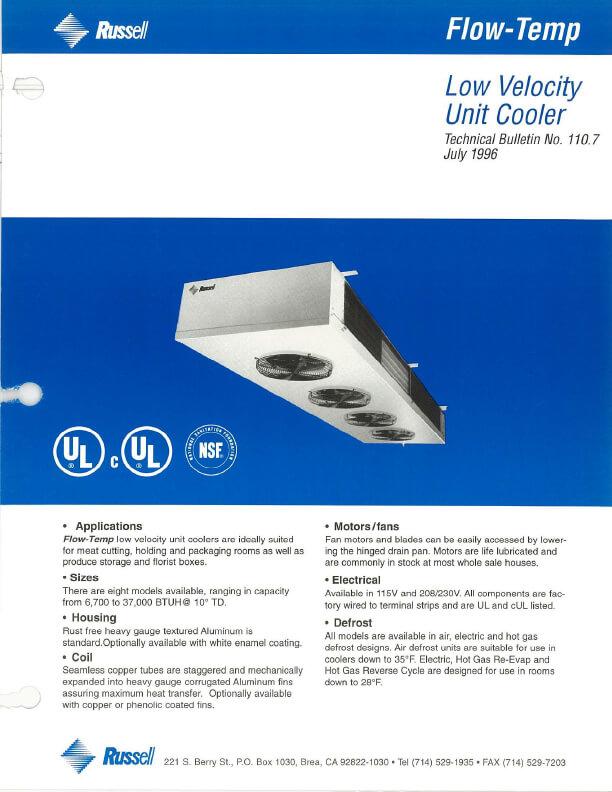 Flow-Temp Low Velocity Unit Coolers 1996