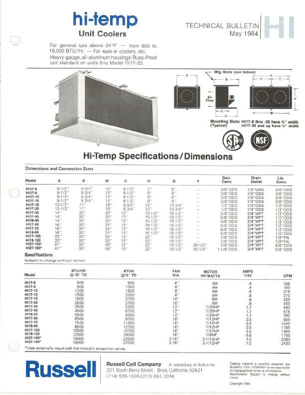 Hi-Temp Unit Coolers 1984