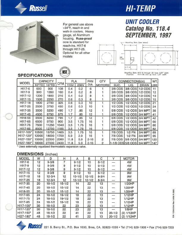 Hi-Temp Unit Coolers 1997