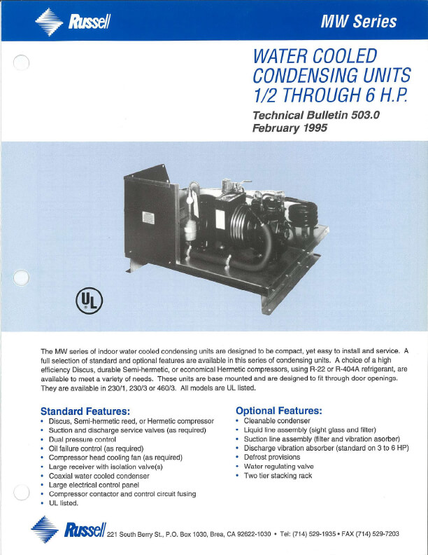 MW Series Water Cooled  Condensing Units 1995