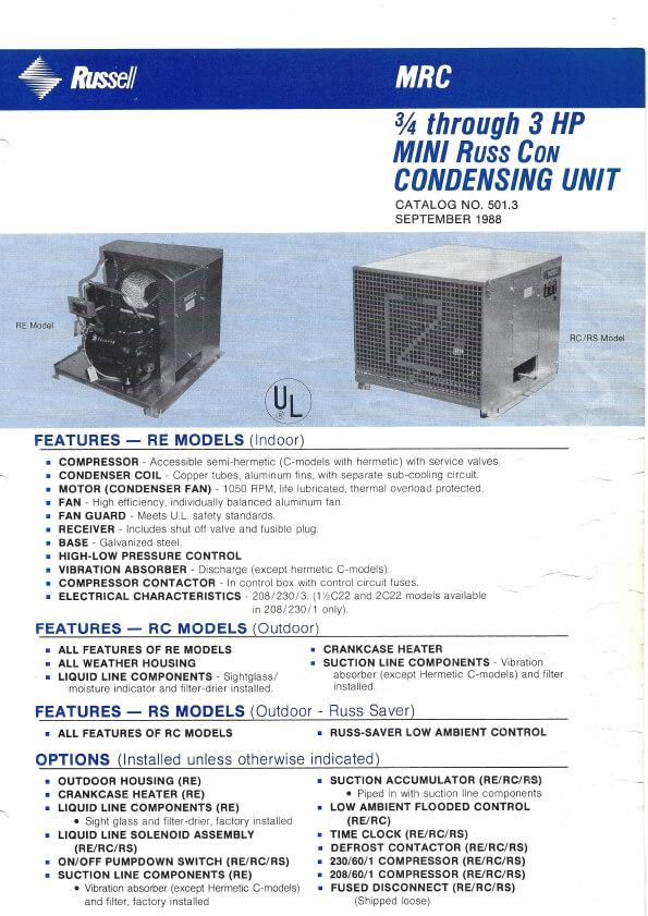 Mini Russ Con Condensing Units 1988