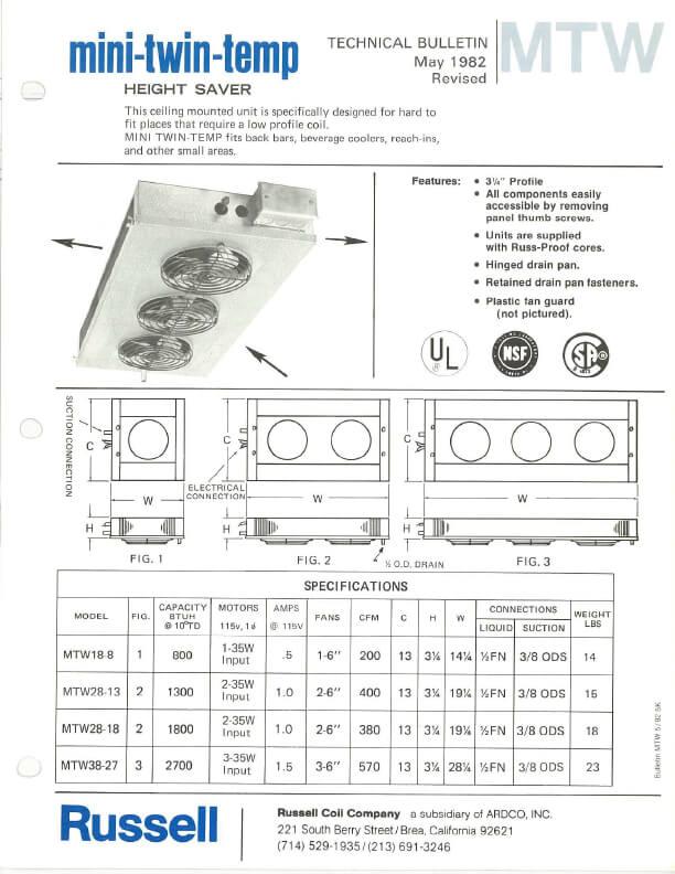 Mini-Twin-Temp Unit Coolers 1982