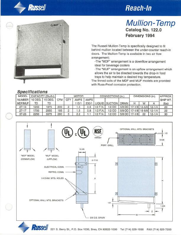 Mullion-Temp Unit Cooler 1994