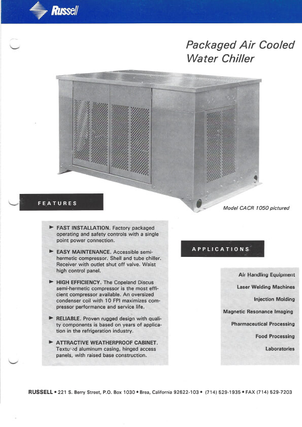 Packaged Water Chiller 1993