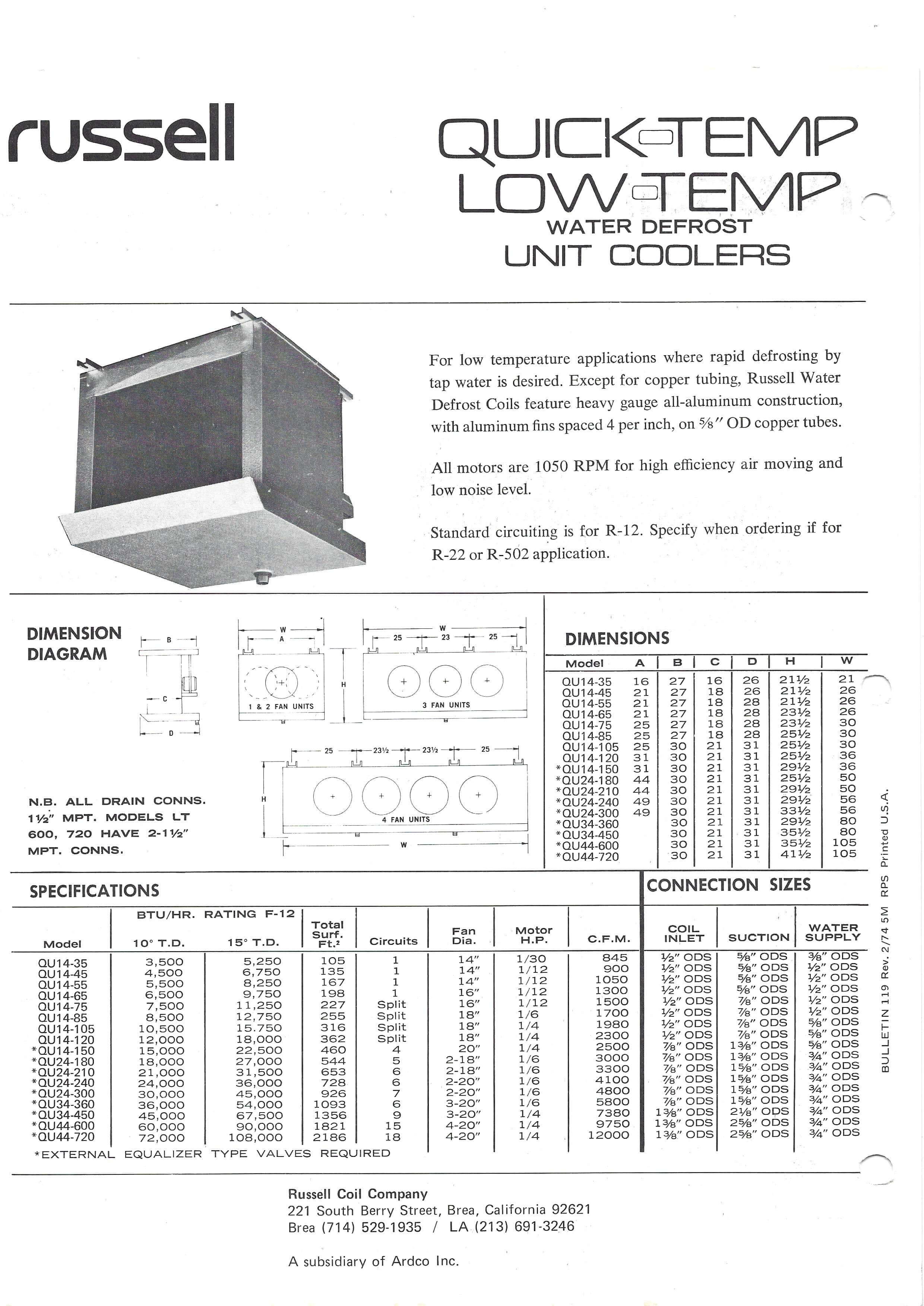 Quick-Temp Low-Temp Water Defrost Unit Coolers 1974