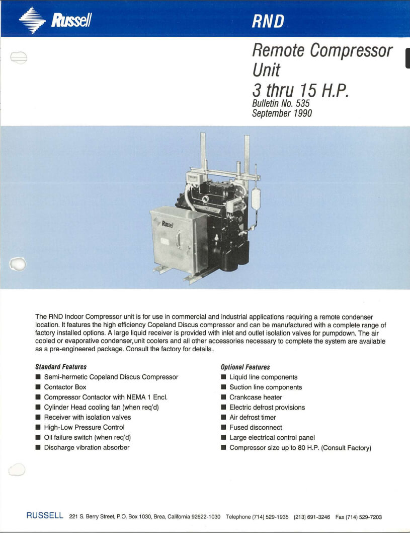 HC Series Centrifugal Air Cooled Condensers 1990