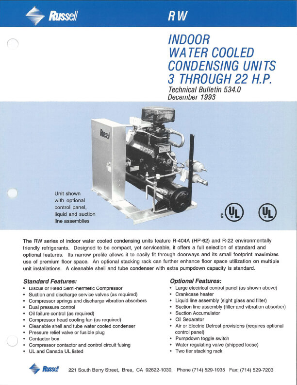 RW Indoor Water Cooled Condensing Units 3 to 22 HP 1993