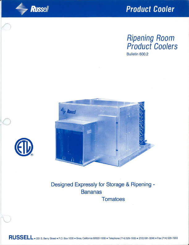 Ripening Room Product Coolers 1991