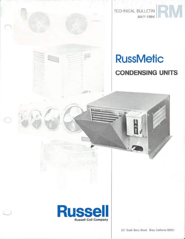 RussMetic Condensing Units 1984