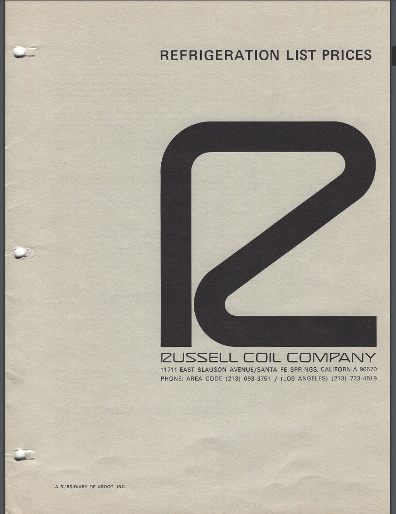 Russell List Prices 1968