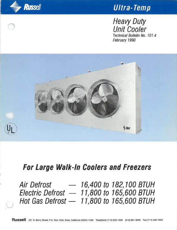 Ultra-Temp Heavy Duty Unit Coolers 1990