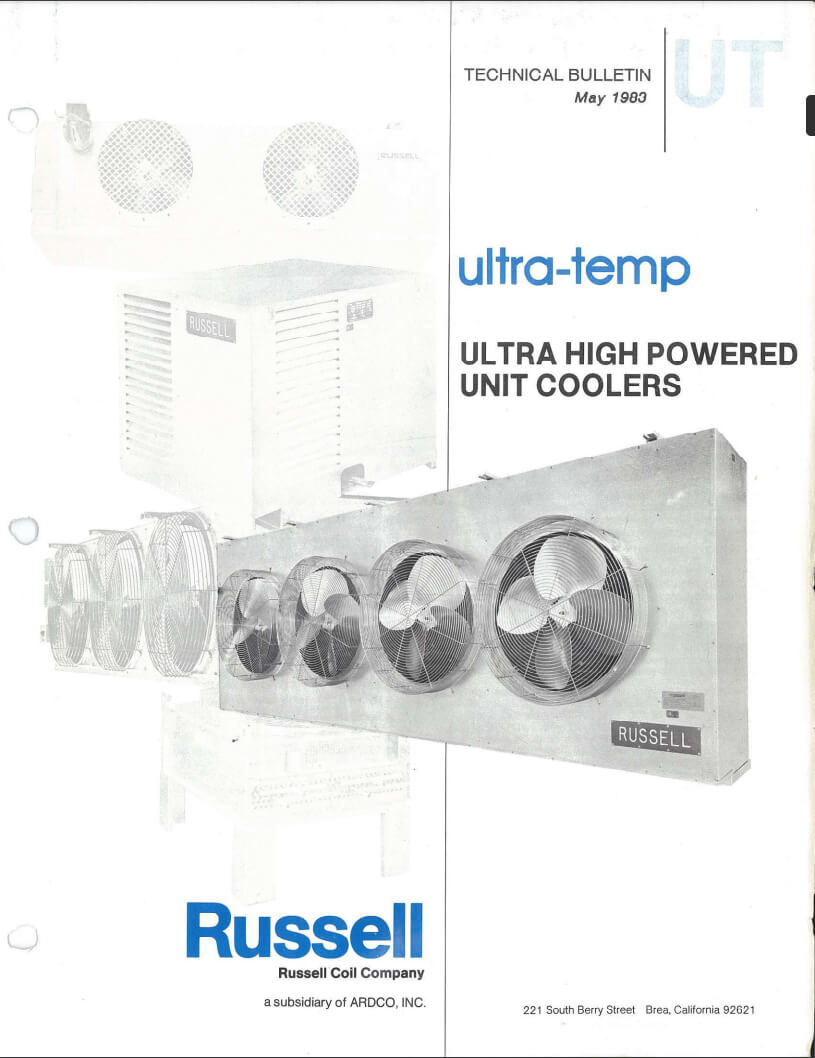 Ultra-Temp High Powered Unit Coolers 1983